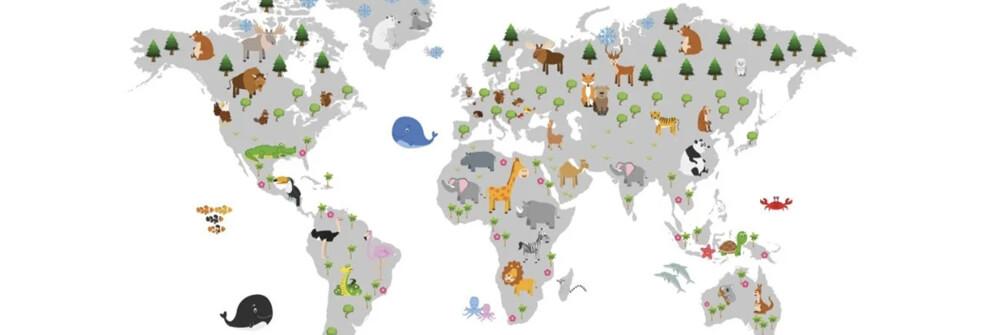 Kinderbehang met een wereldkaart