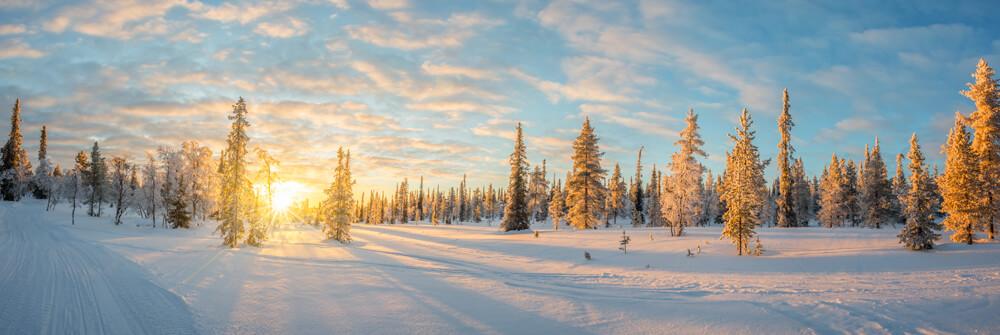 Winters landschap op fotobehang