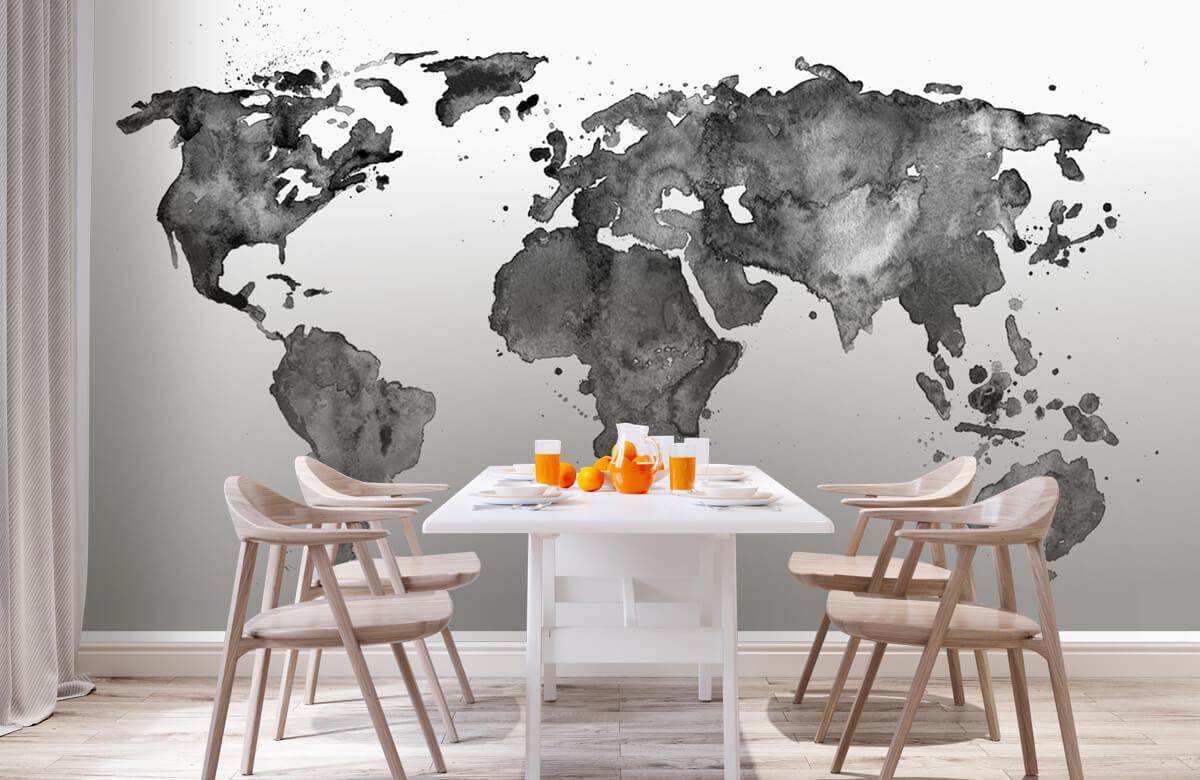 Zwart Wit behang - Zwarte wereldkaart van waterverf - Tienerkamer 1