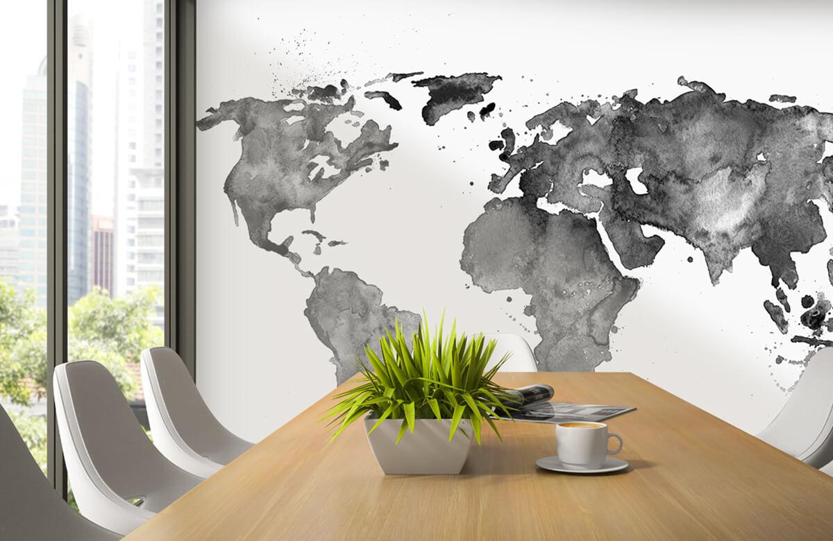 Zwart Wit behang - Zwarte wereldkaart van waterverf - Tienerkamer 2