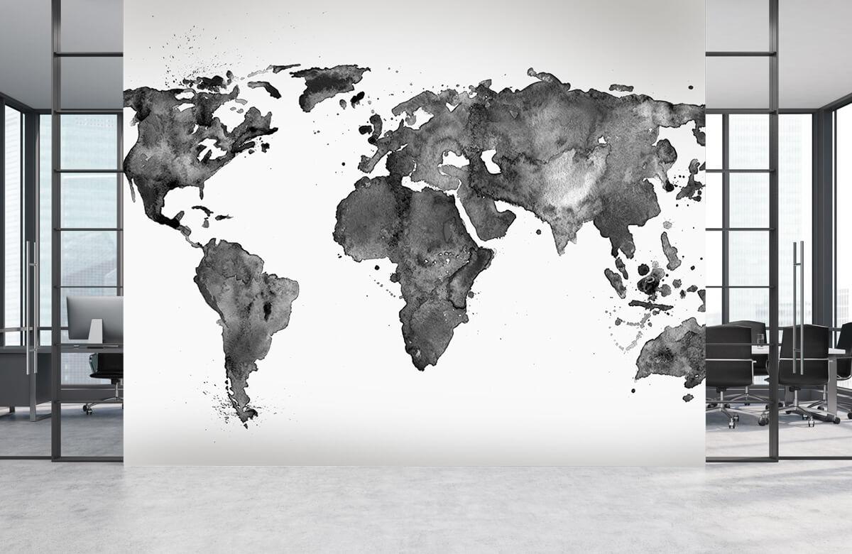 Zwart Wit behang - Zwarte wereldkaart van waterverf - Tienerkamer 3