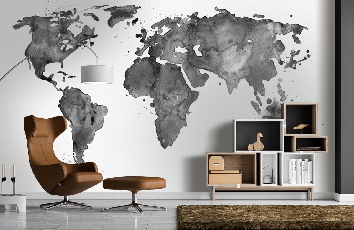Zwart Wit behang - Zwarte wereldkaart van waterverf - Tienerkamer 4