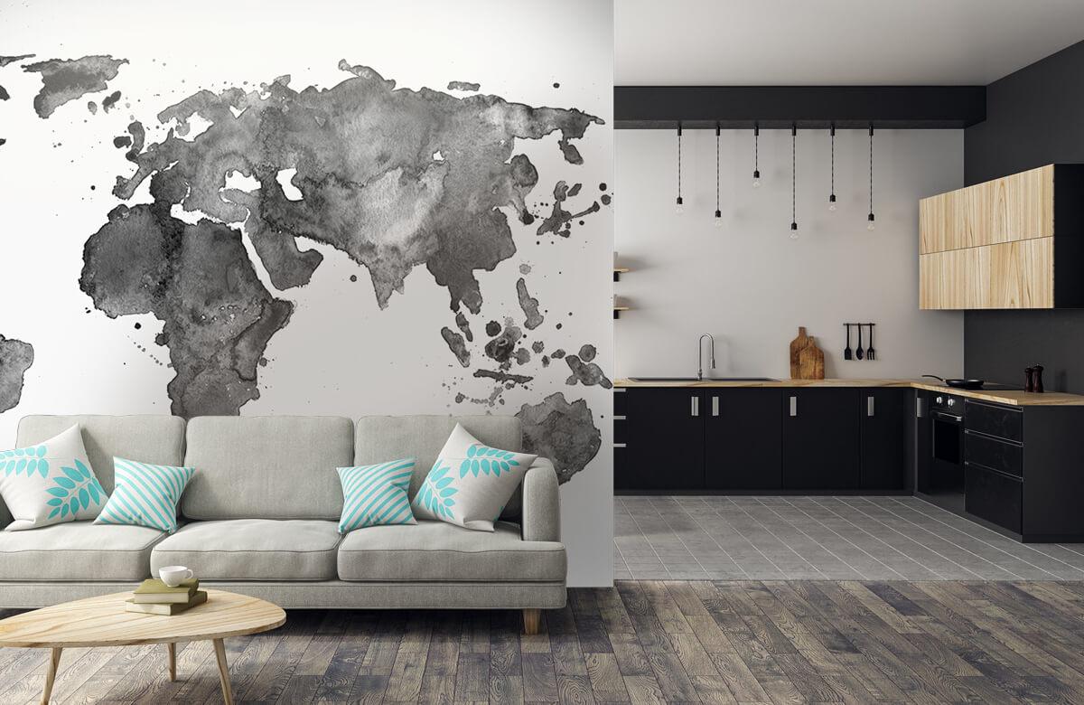 Zwart Wit behang - Zwarte wereldkaart van waterverf - Tienerkamer 5