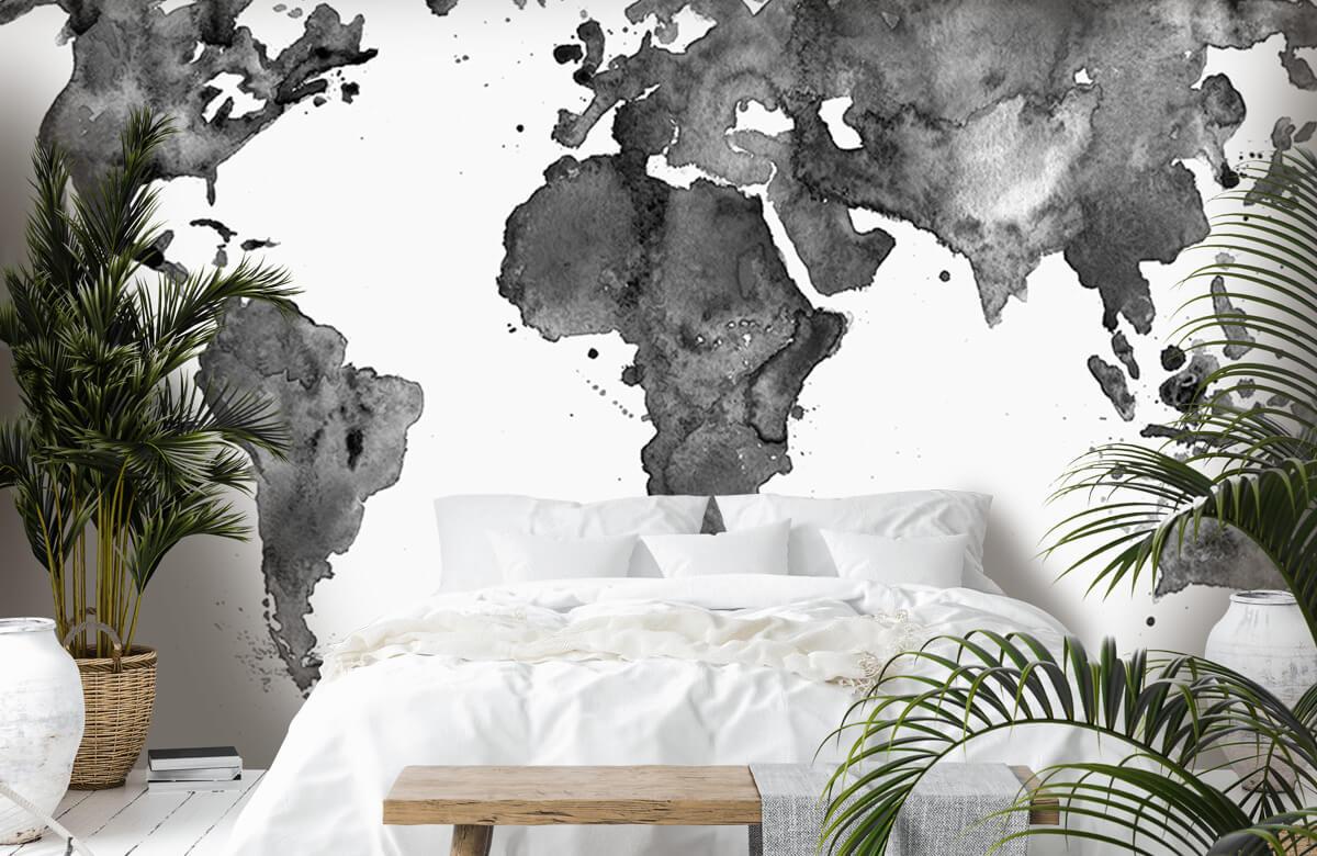 Zwart Wit behang - Zwarte wereldkaart van waterverf - Tienerkamer 6