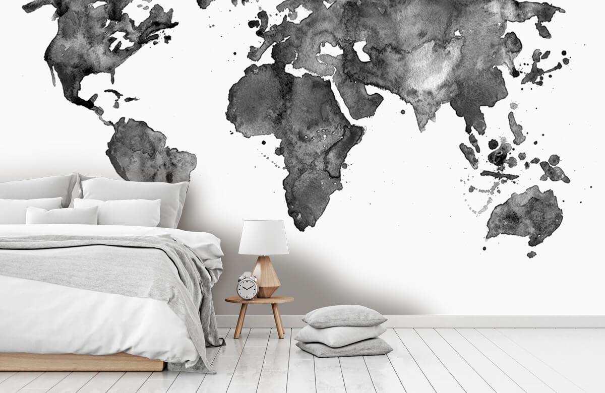 Zwart Wit behang - Zwarte wereldkaart van waterverf - Tienerkamer 7