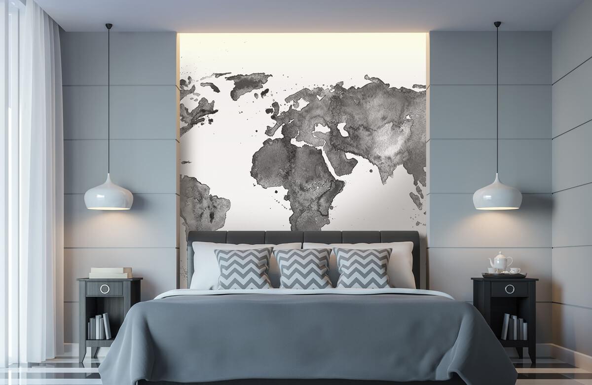 Zwart Wit behang - Zwarte wereldkaart van waterverf - Tienerkamer 8