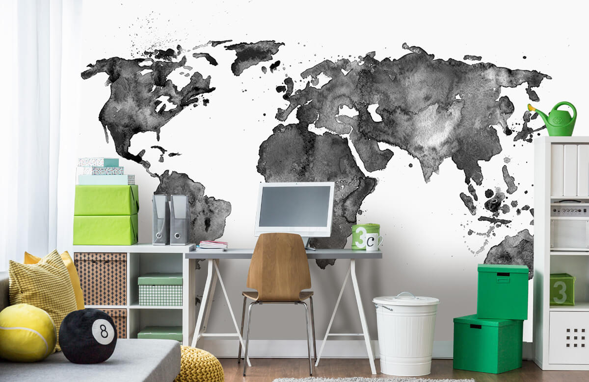 Zwart Wit behang - Zwarte wereldkaart van waterverf - Tienerkamer 9