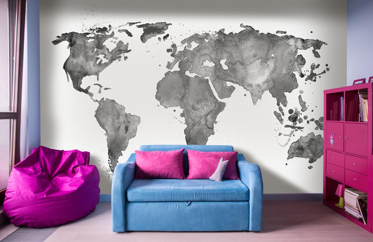 Zwart Wit behang - Zwarte wereldkaart van waterverf - Tienerkamer 10