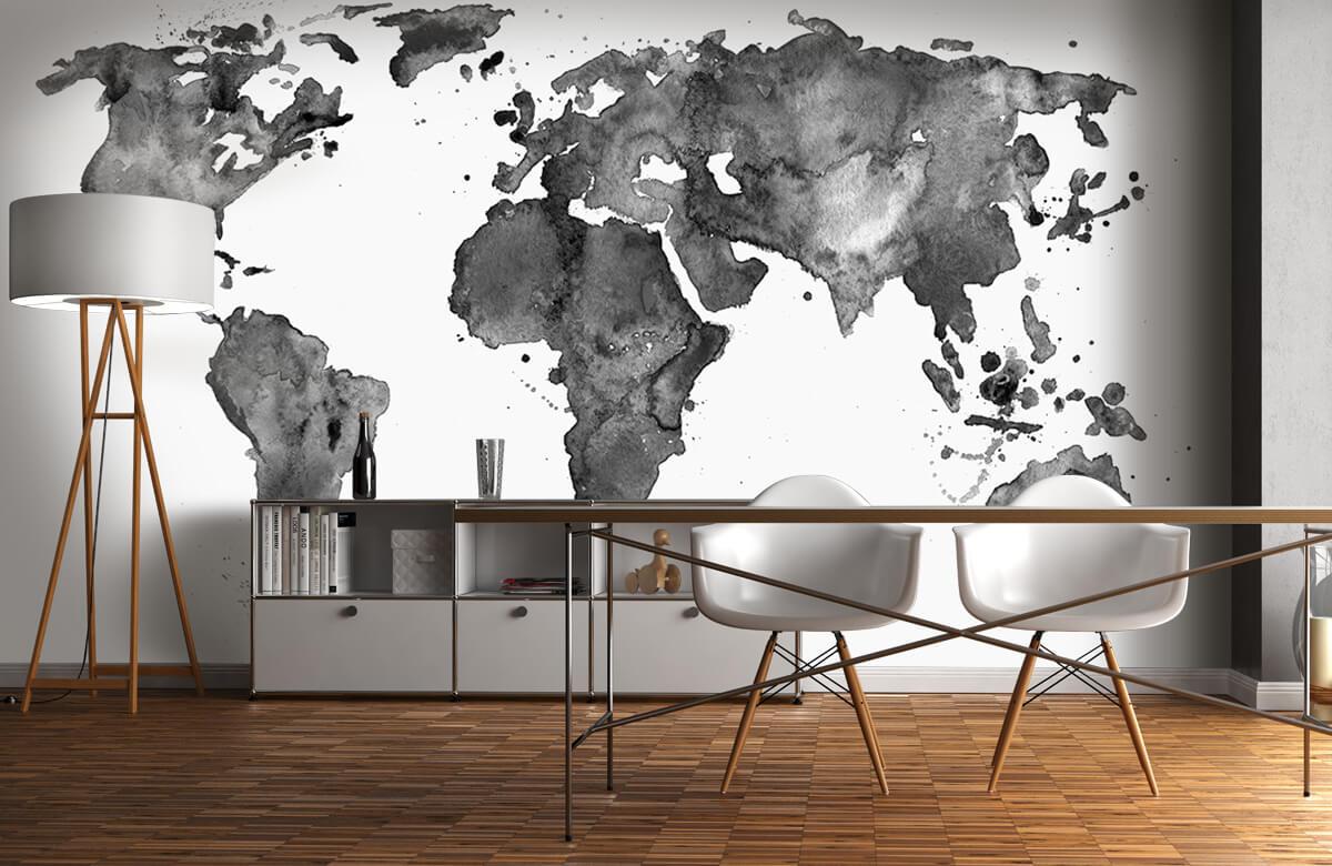 Zwart Wit behang - Zwarte wereldkaart van waterverf - Tienerkamer 11