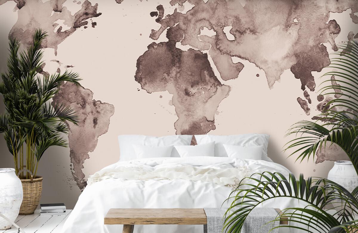 Retro behang - Wereldkaart in sepia - Tienerkamer 6