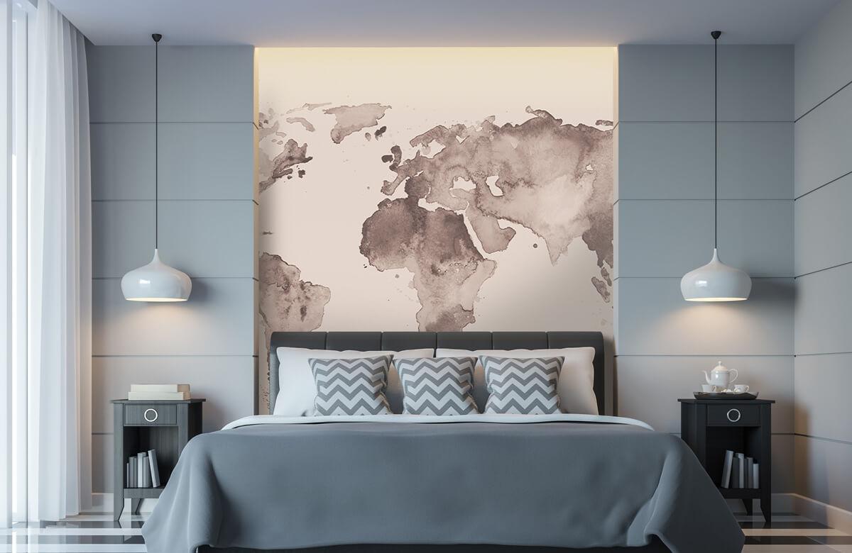 Retro behang - Wereldkaart in sepia - Tienerkamer 8