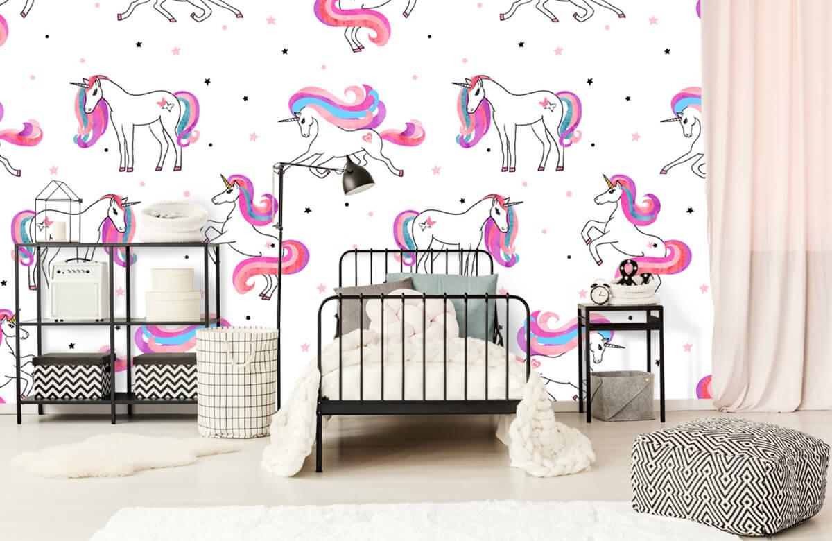 Kinderbehang - Eenhoorns met roze manen - Kinderkamer 2