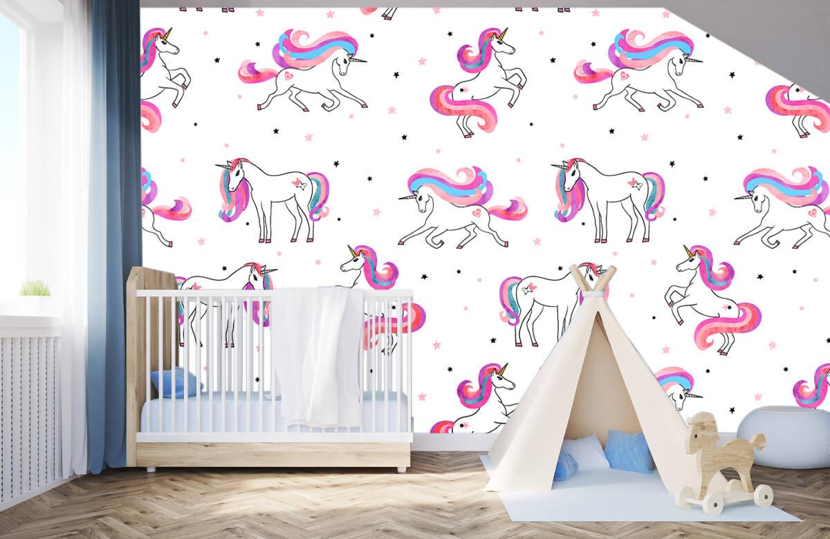 Kinderbehang - Eenhoorns met roze manen - Kinderkamer 3