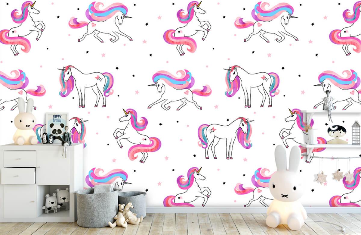 Kinderbehang - Eenhoorns met roze manen - Kinderkamer 5