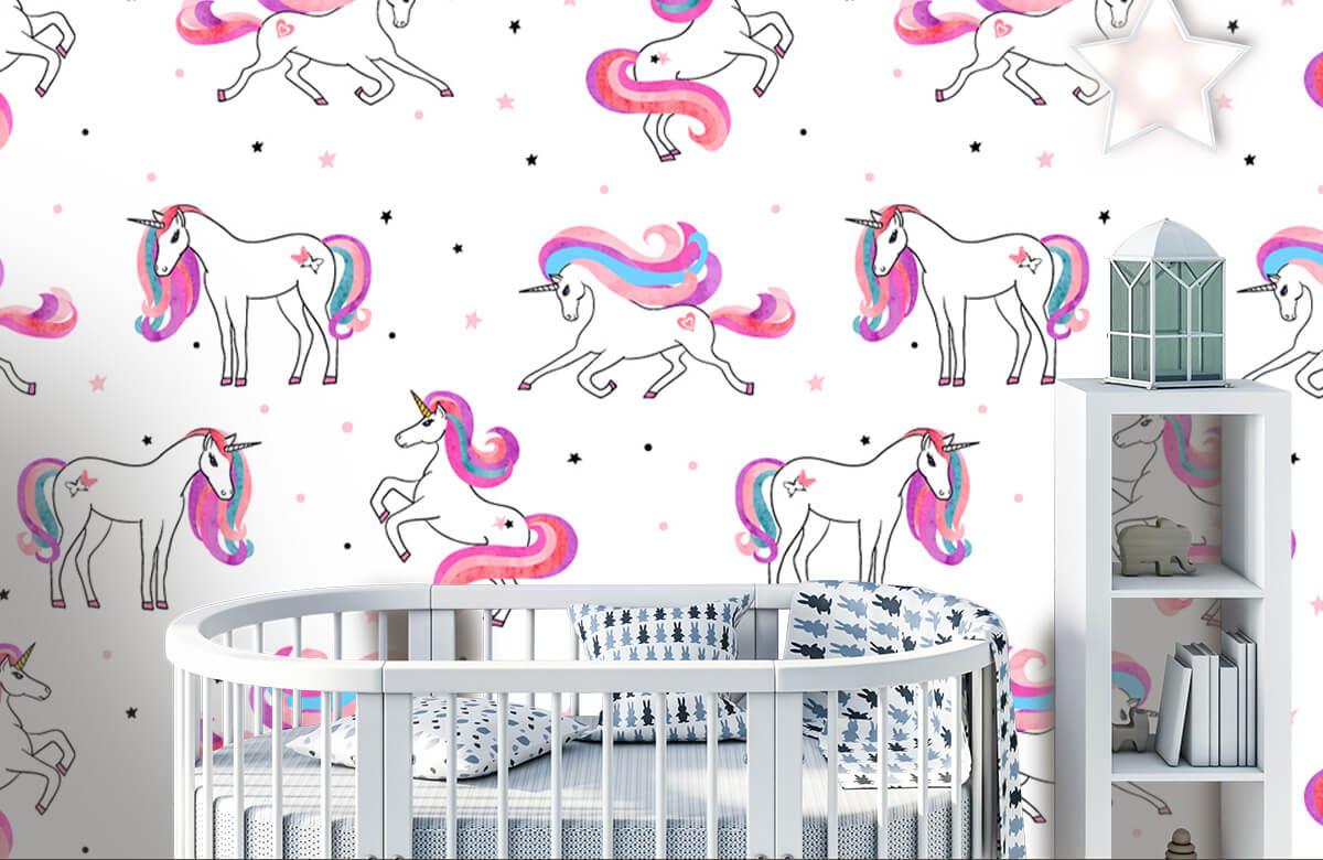 Kinderbehang - Eenhoorns met roze manen - Kinderkamer 1