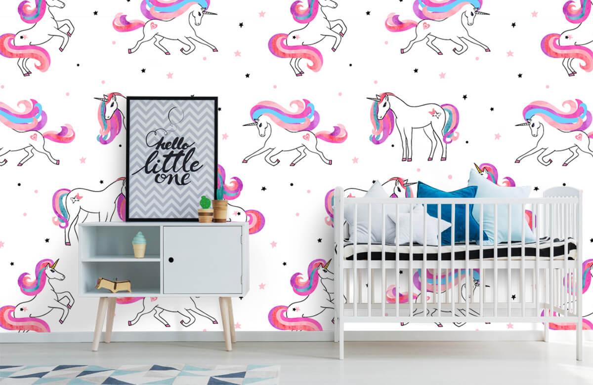 Kinderbehang - Eenhoorns met roze manen - Kinderkamer 6