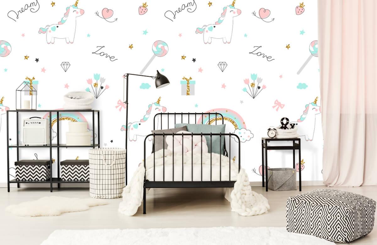 Kinderbehang - Eenhoorns, regenbogen en glitters - Kinderkamer 1