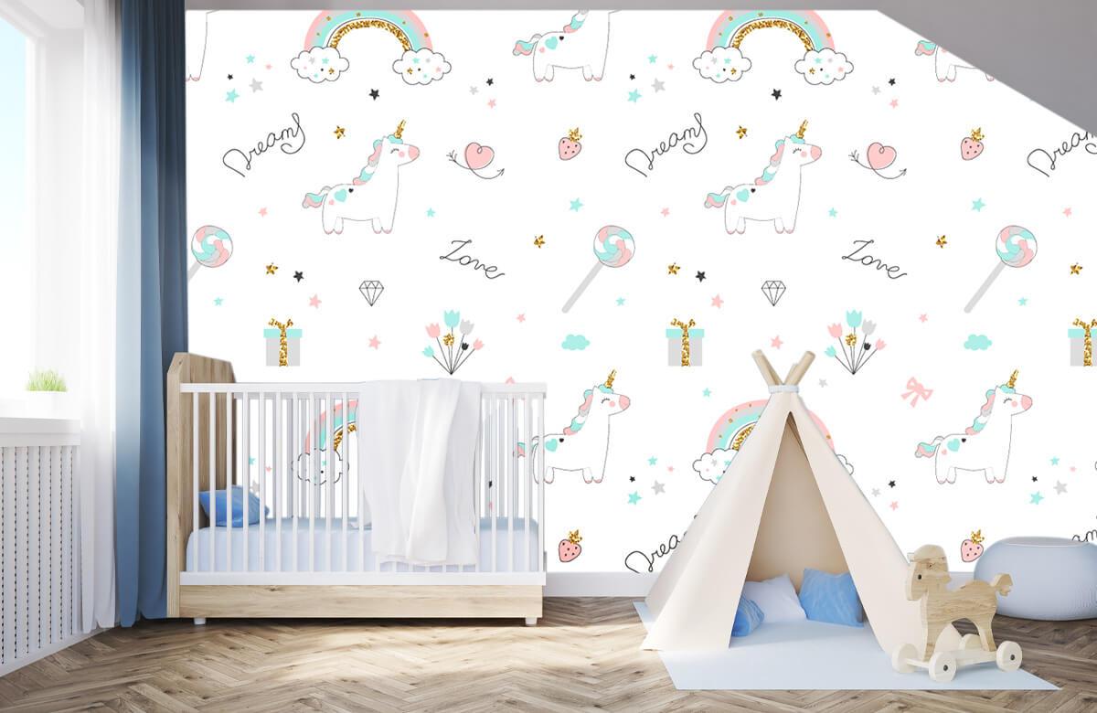 Kinderbehang - Eenhoorns, regenbogen en glitters - Kinderkamer 2
