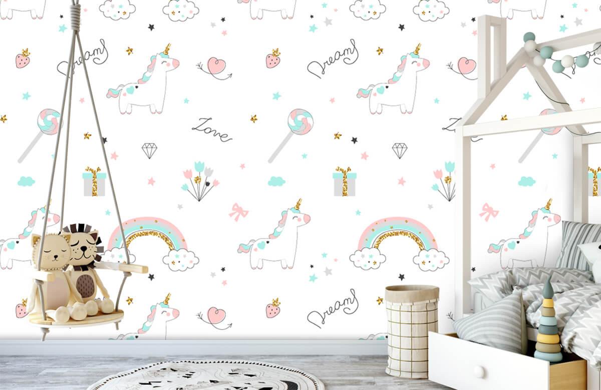 Kinderbehang - Eenhoorns, regenbogen en glitters - Kinderkamer 3