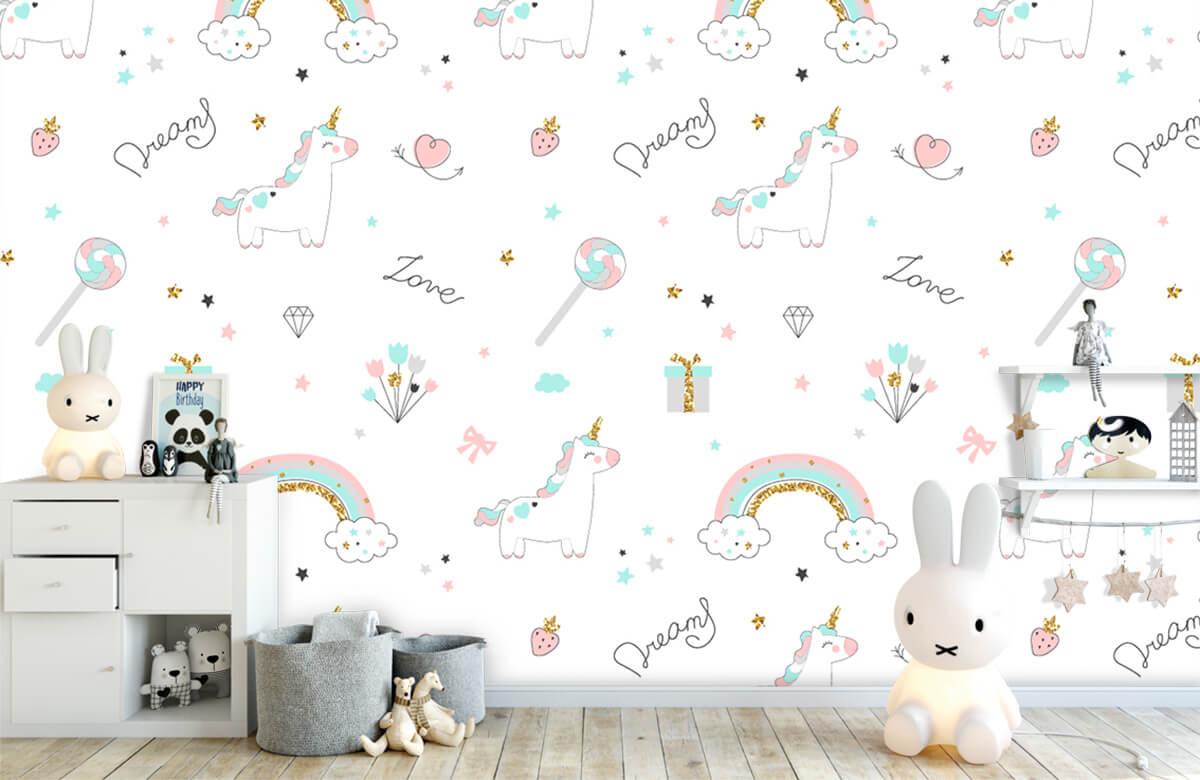Kinderbehang - Eenhoorns, regenbogen en glitters - Kinderkamer 4