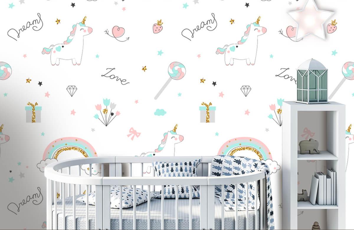 Kinderbehang - Eenhoorns, regenbogen en glitters - Kinderkamer 5