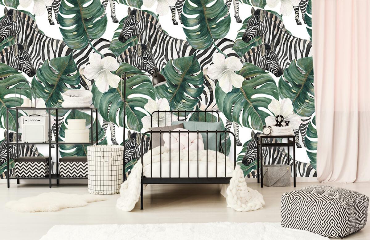 Jungle - Zebra's tussen de palmbladeren - Kinderkamer 1