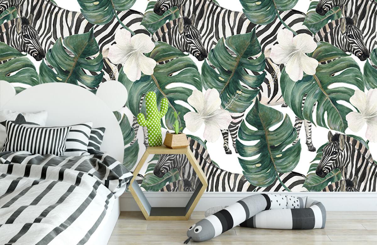 Jungle - Zebra's tussen de palmbladeren - Kinderkamer 2
