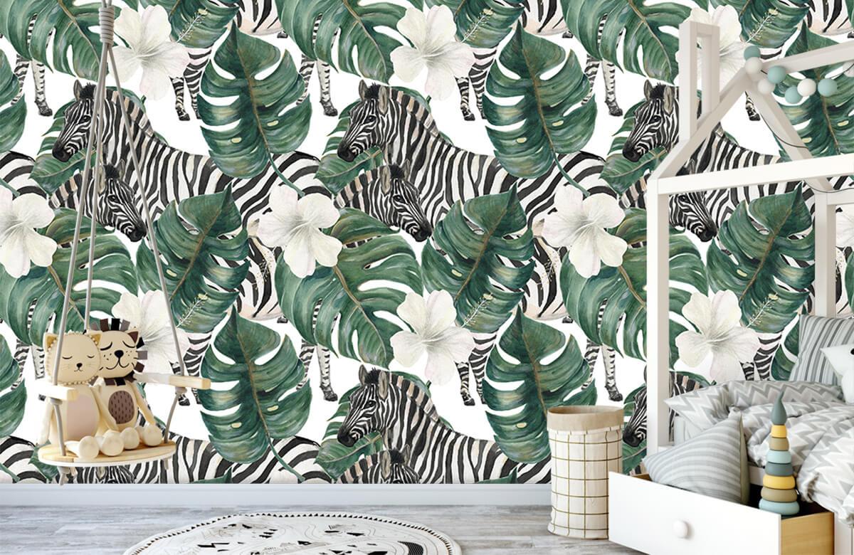 Jungle - Zebra's tussen de palmbladeren - Kinderkamer 3