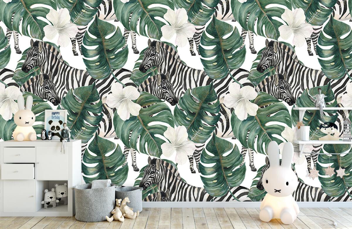 Jungle - Zebra's tussen de palmbladeren - Kinderkamer 4