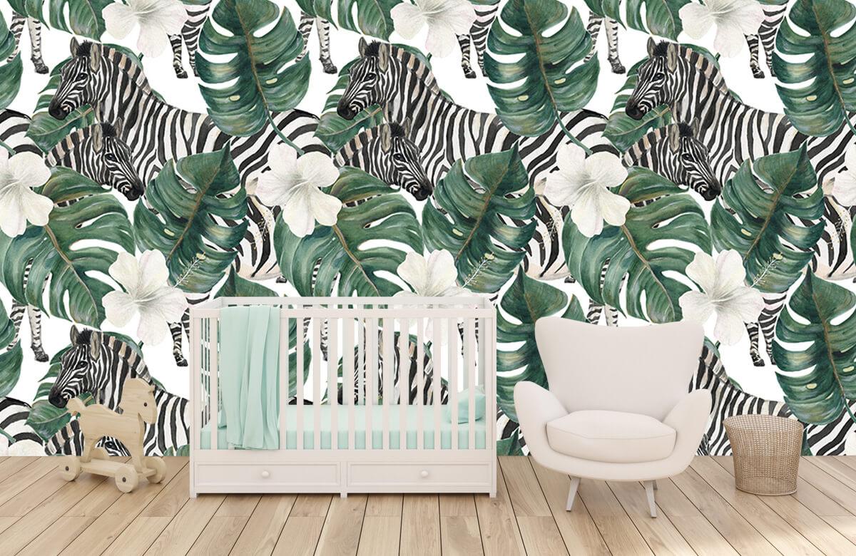 Jungle - Zebra's tussen de palmbladeren - Kinderkamer 5