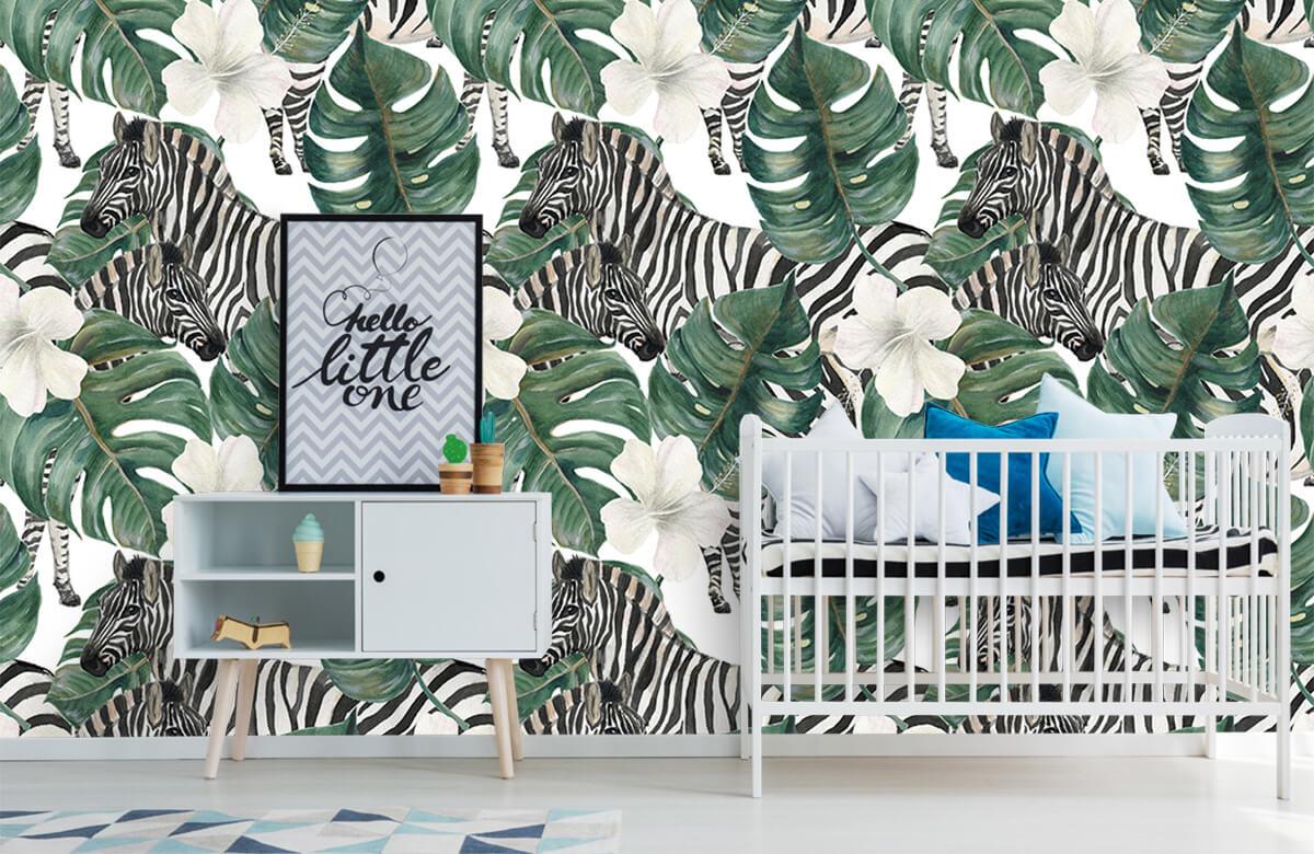 Jungle - Zebra's tussen de palmbladeren - Kinderkamer 6