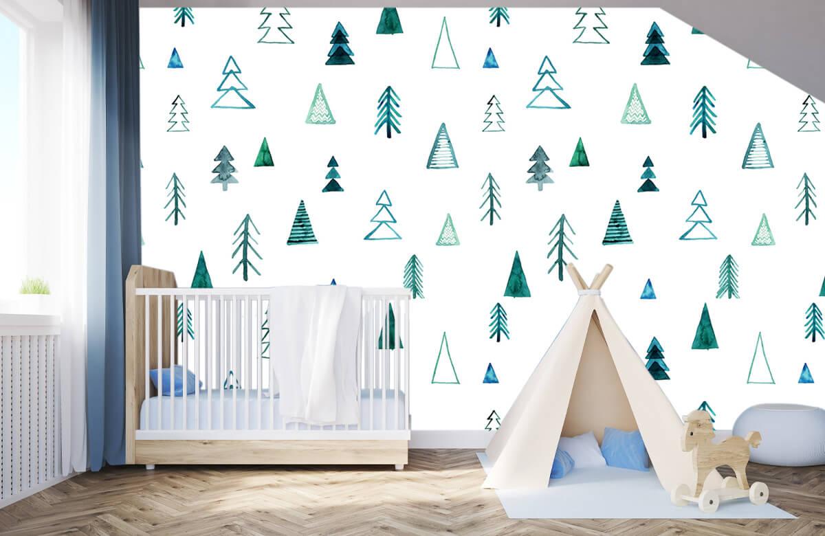 Baby behang - Boompjes van waterverf - Kinderkamer 3
