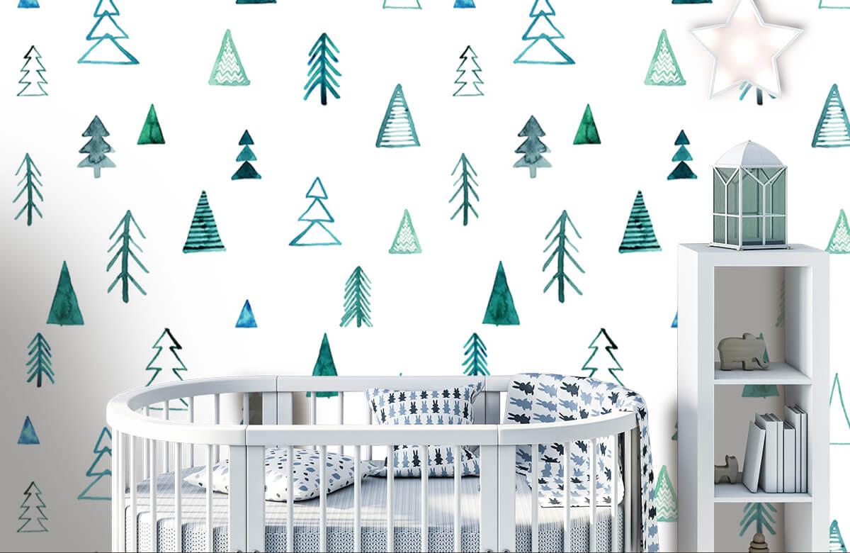 Baby behang - Boompjes van waterverf - Kinderkamer 1