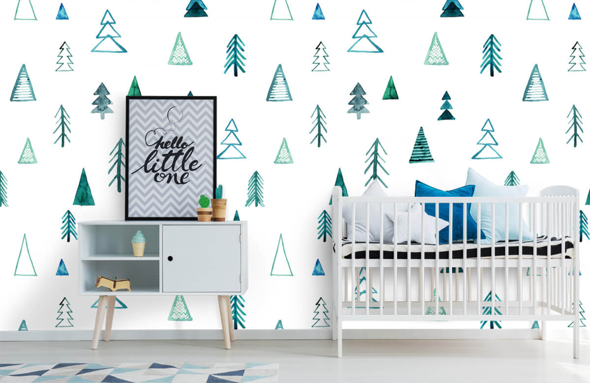 Baby behang - Boompjes van waterverf - Kinderkamer 6