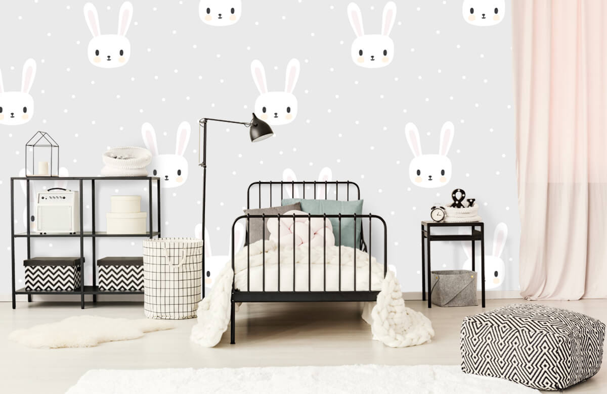 Baby behang - Witte konijntjes - Babykamer 2