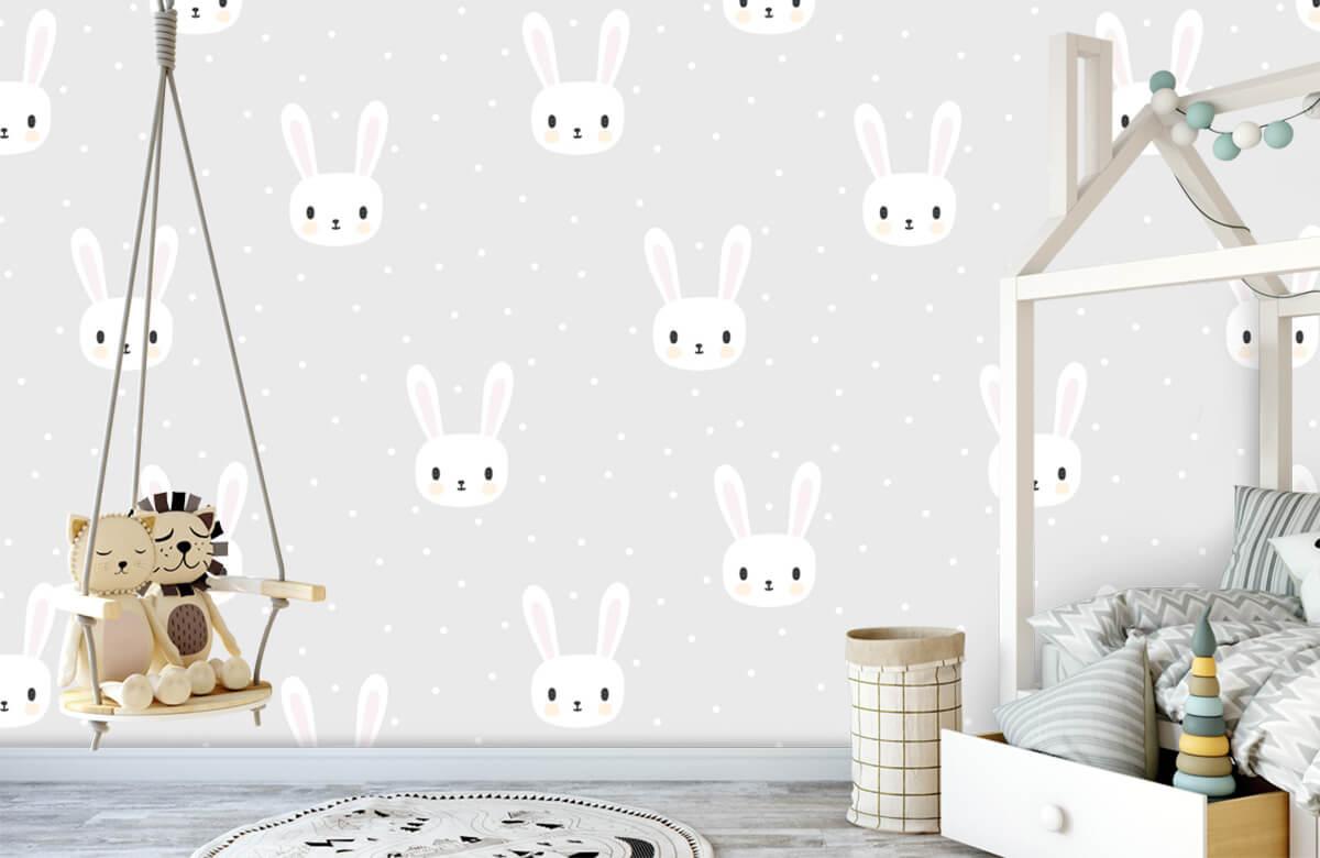 Baby behang - Witte konijntjes - Babykamer 1