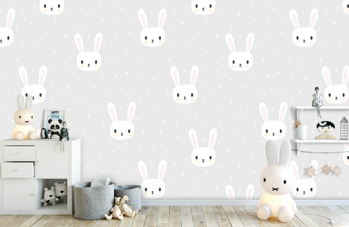 Baby behang - Witte konijntjes - Babykamer 4