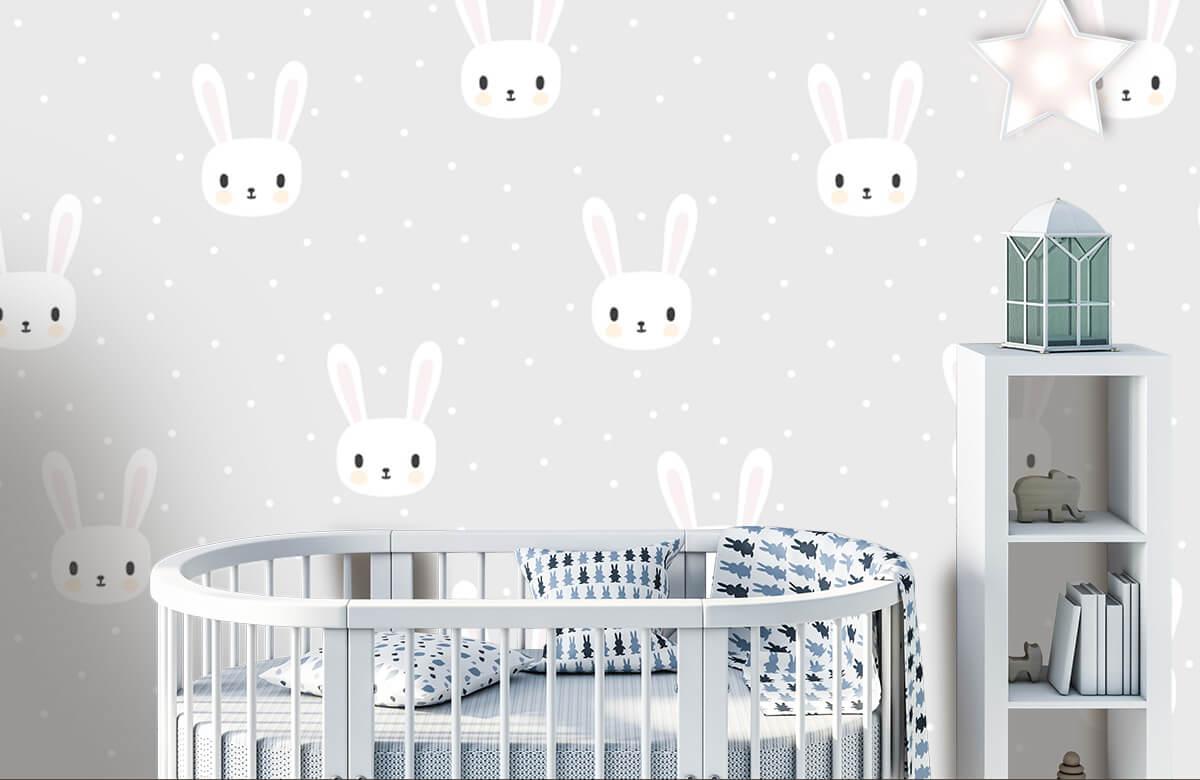 Baby behang - Witte konijntjes - Babykamer 5