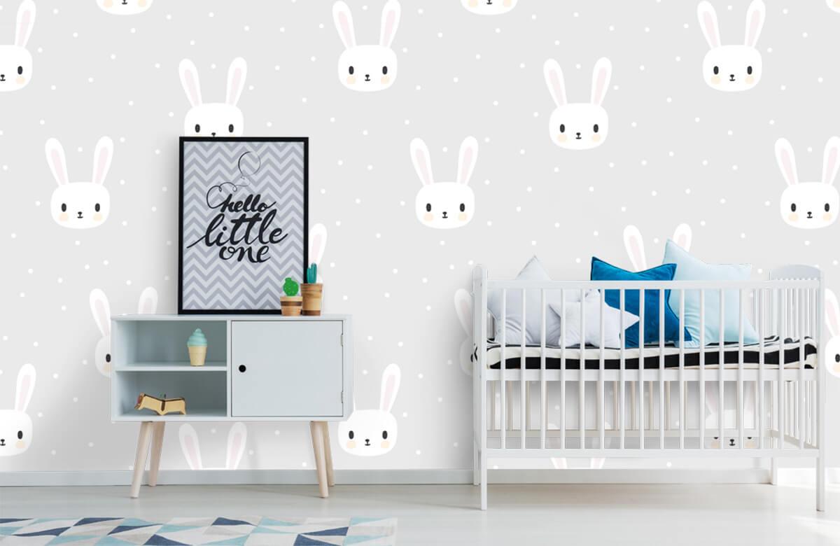 Baby behang - Witte konijntjes - Babykamer 6