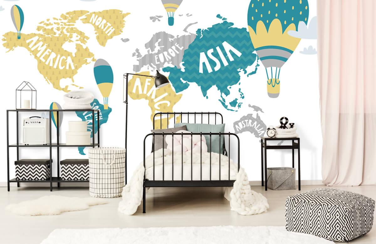 Wereldkaart behang - Wereldkaart met luchtballonnen - Kinderkamer 2