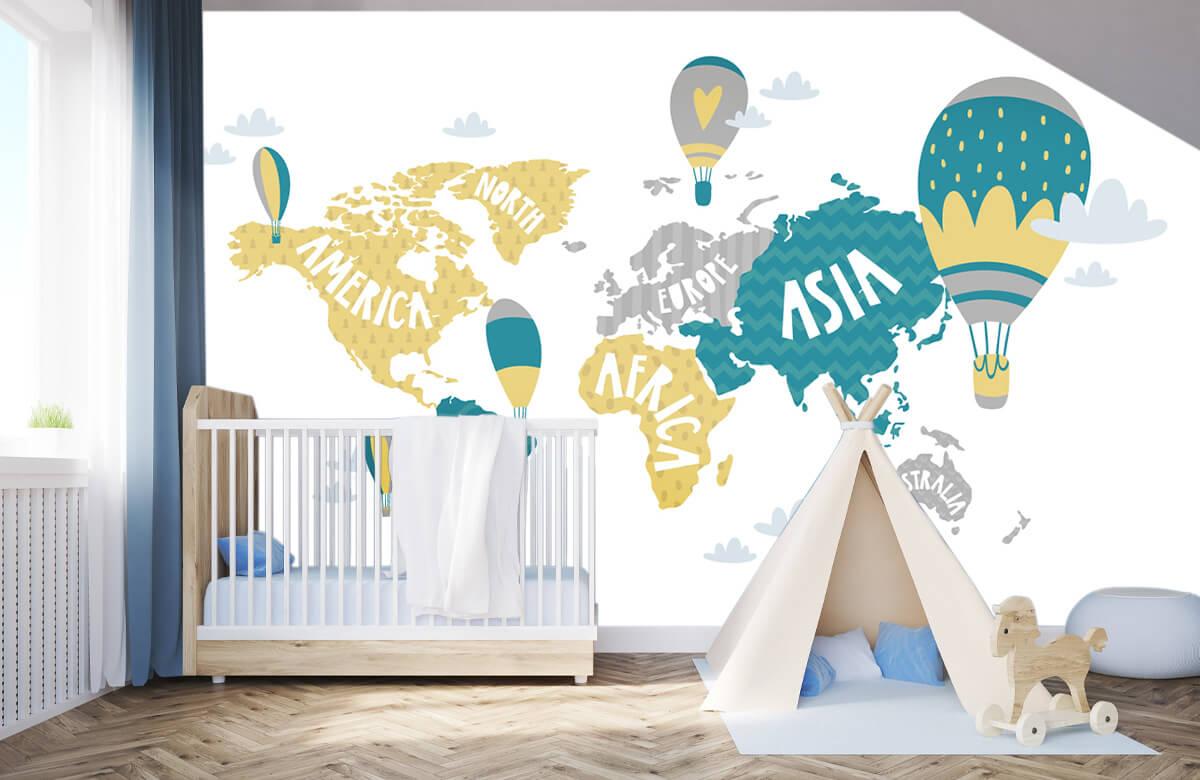 Wereldkaart behang - Wereldkaart met luchtballonnen - Kinderkamer 3
