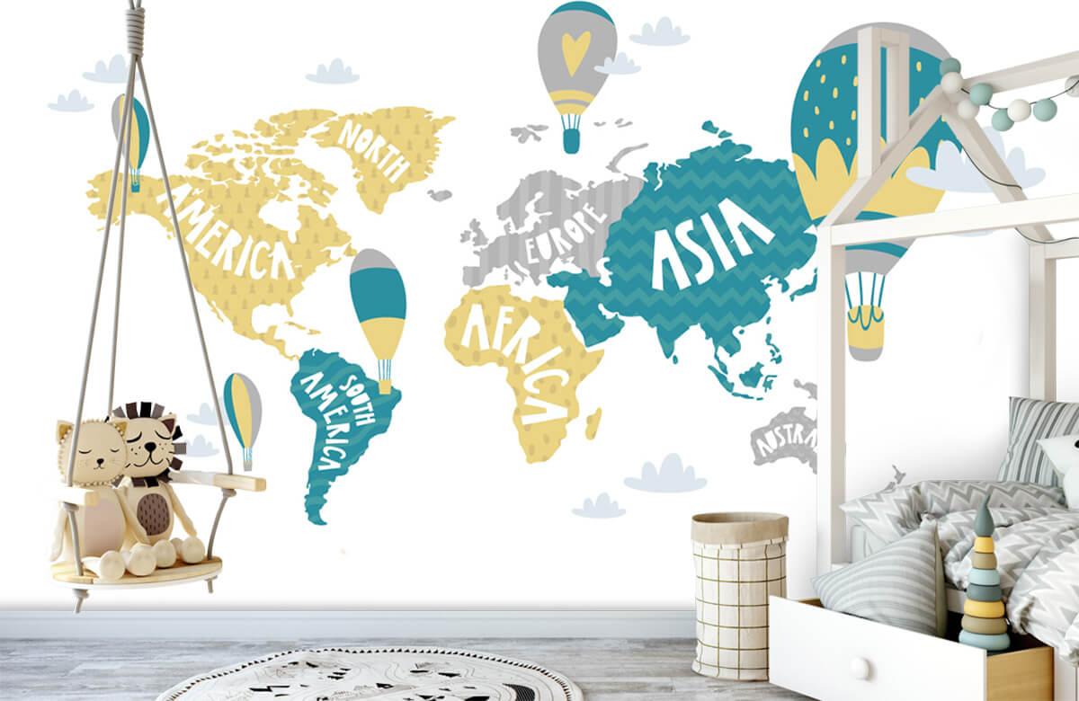 Wereldkaart behang - Wereldkaart met luchtballonnen - Kinderkamer 4