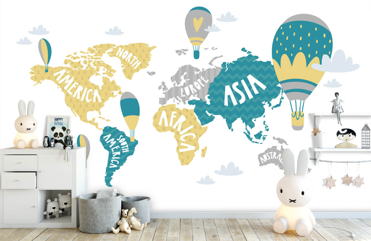 Wereldkaart behang - Wereldkaart met luchtballonnen - Kinderkamer 1