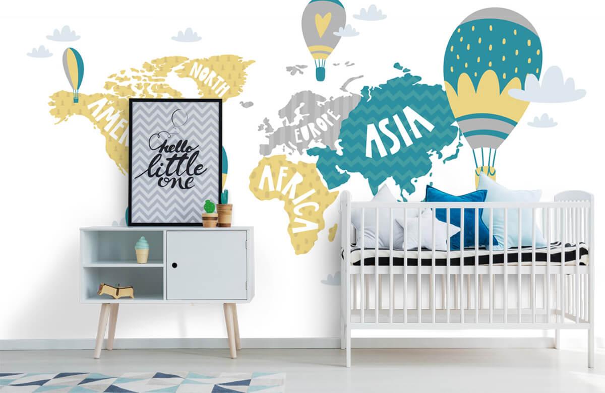 Wereldkaart behang - Wereldkaart met luchtballonnen - Kinderkamer 6
