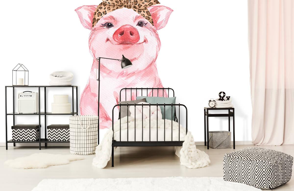 Overige - Grappig varkentje met een bandana - Babykamer 1