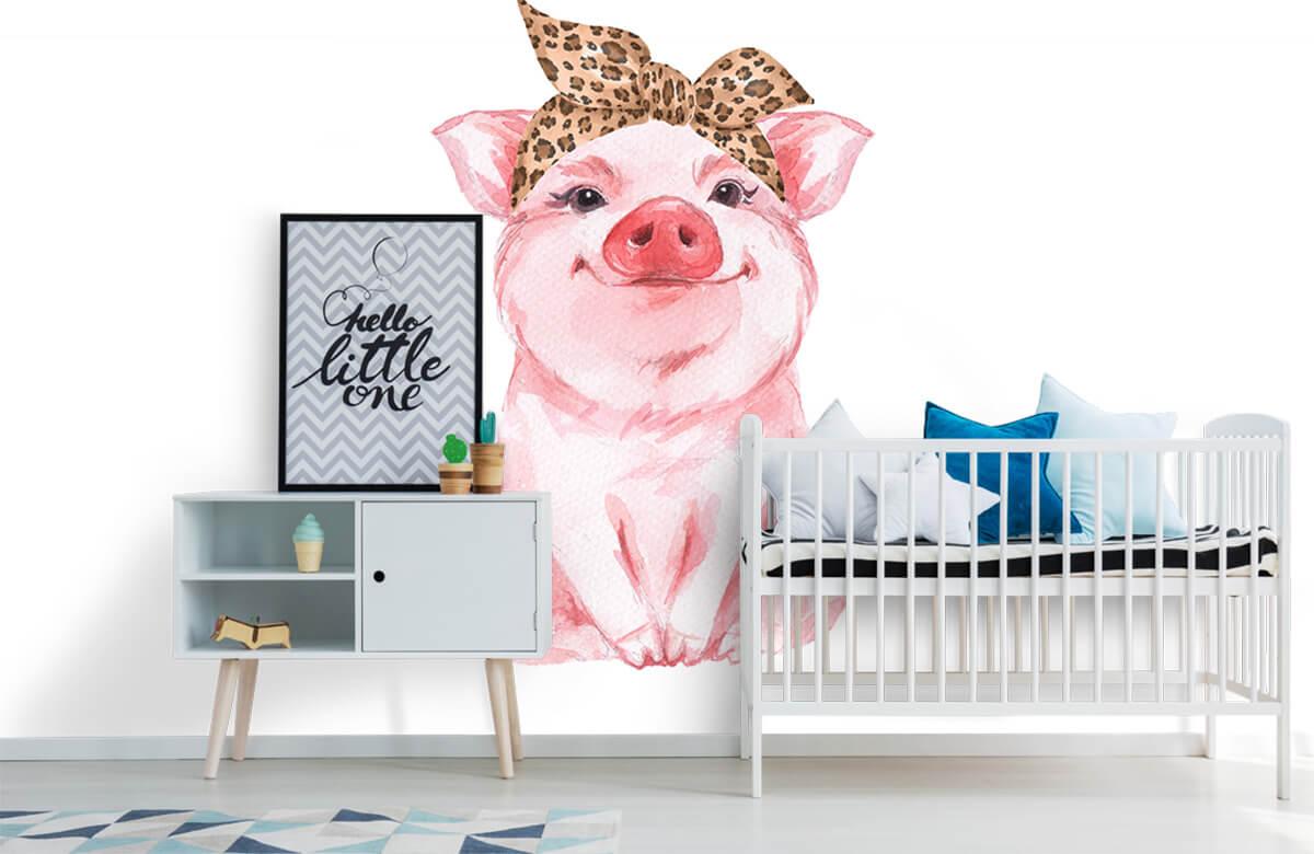 Overige - Grappig varkentje met een bandana - Babykamer 6