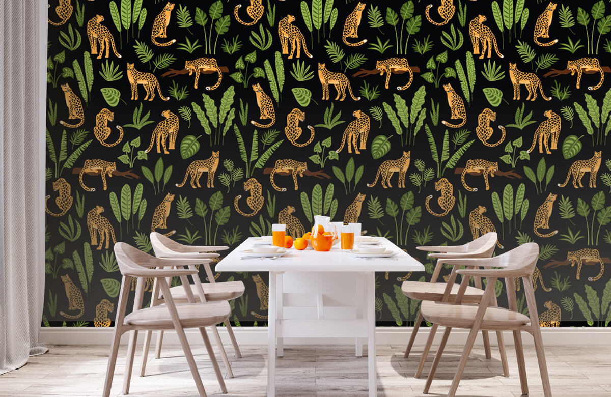 Jungle - Luipaard patroon op een zwarte achtergrond - Tienerkamer 1
