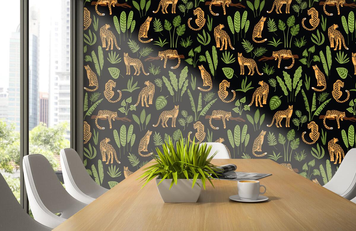 Jungle - Luipaard patroon op een zwarte achtergrond - Tienerkamer 2