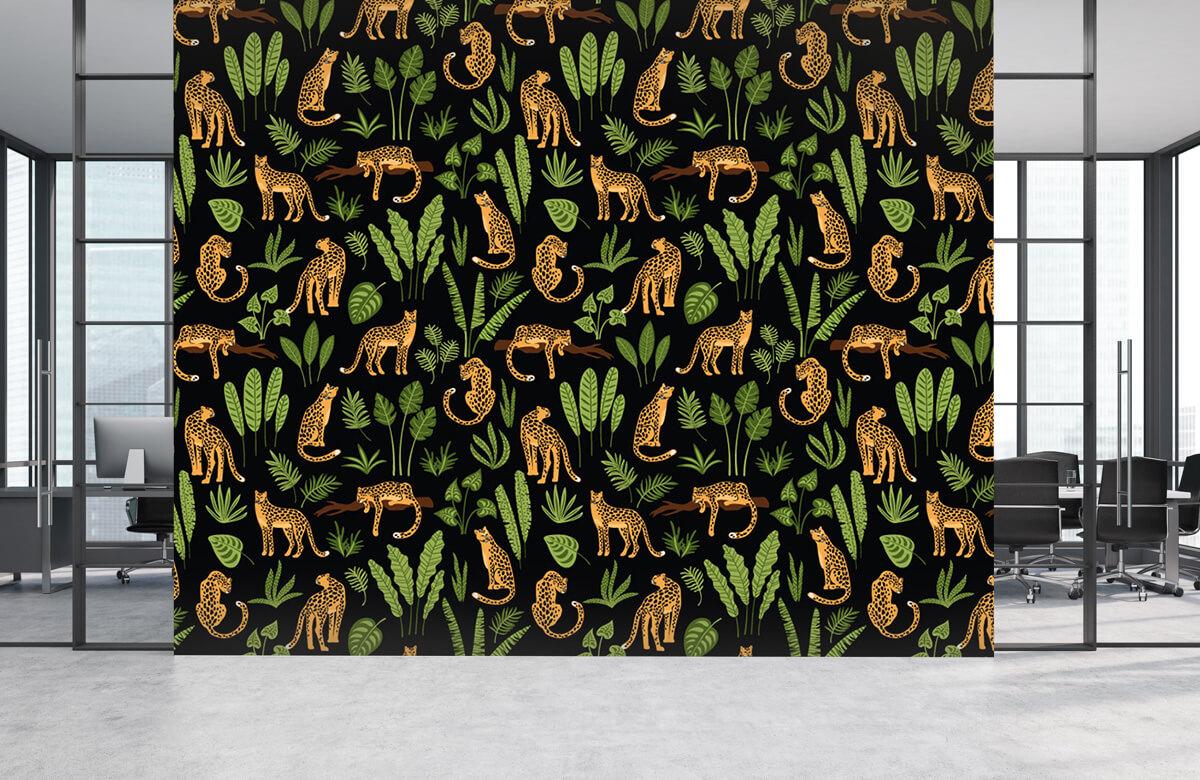 Jungle - Luipaard patroon op een zwarte achtergrond - Tienerkamer 3