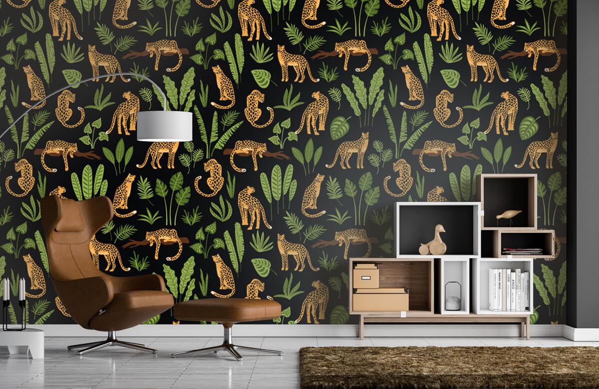 Jungle - Luipaard patroon op een zwarte achtergrond - Tienerkamer 4